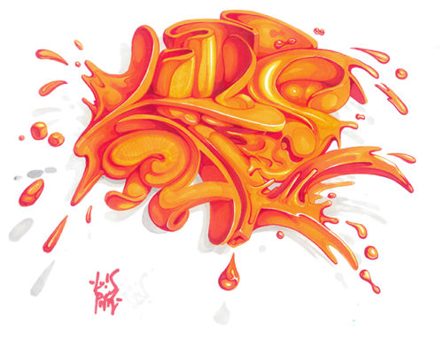 ORANGE JUICE SPLASH – marker on paper 2017
